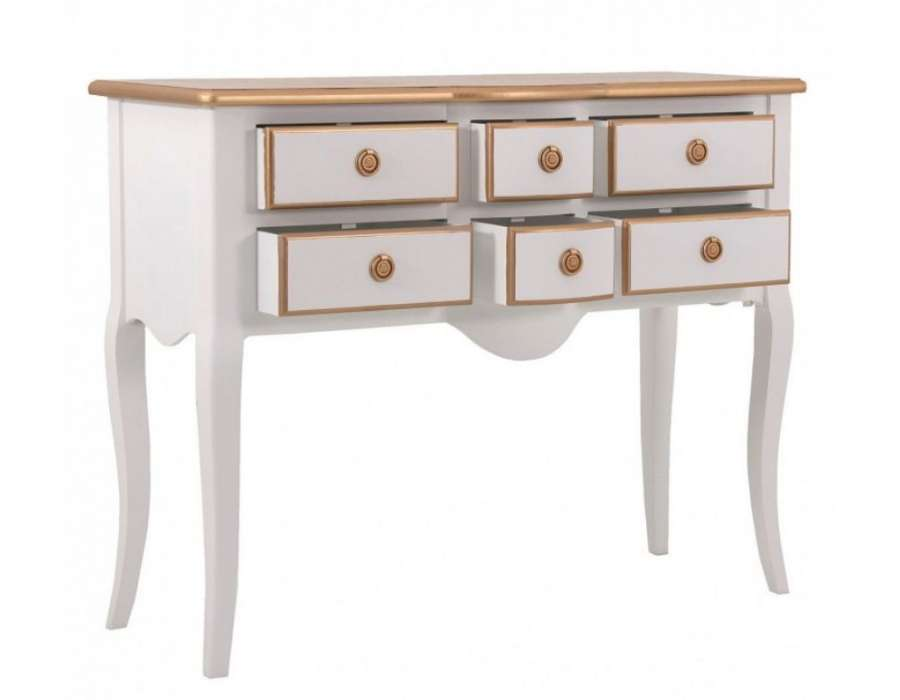console blanche 6 tiroirs avec plateau dor de la marque. Black Bedroom Furniture Sets. Home Design Ideas
