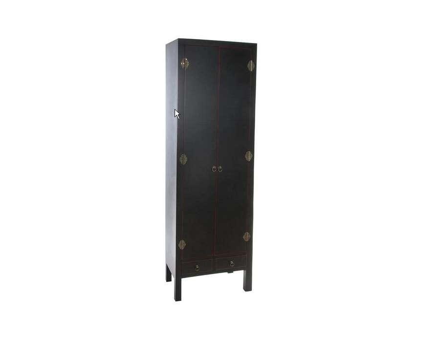 Armoire 2 portes noire vieillie style japonais pas chere for Armoire penderie style japonais