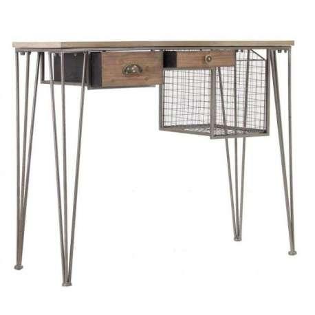 Bureau industriel mix m tal bois pas cher - Bureau style industriel en metal et bois ...