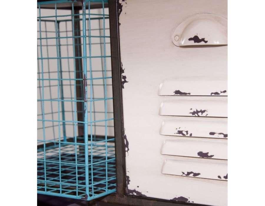 Meuble à tiroirs métal coloré industriel