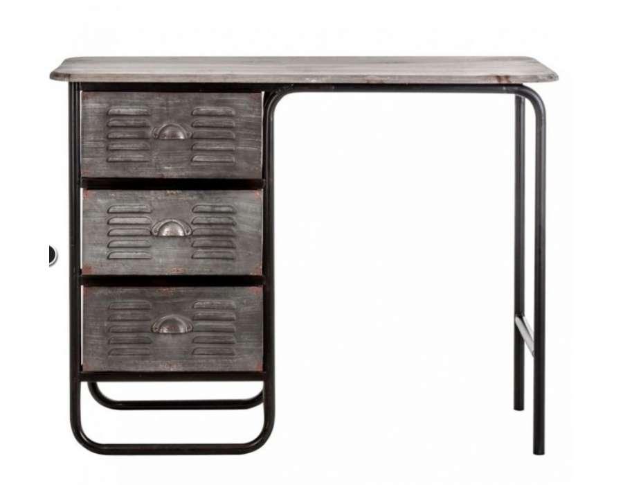Bureau industriel m tal gris avec 3 tiroirs vical home - Bureau metal industriel ...