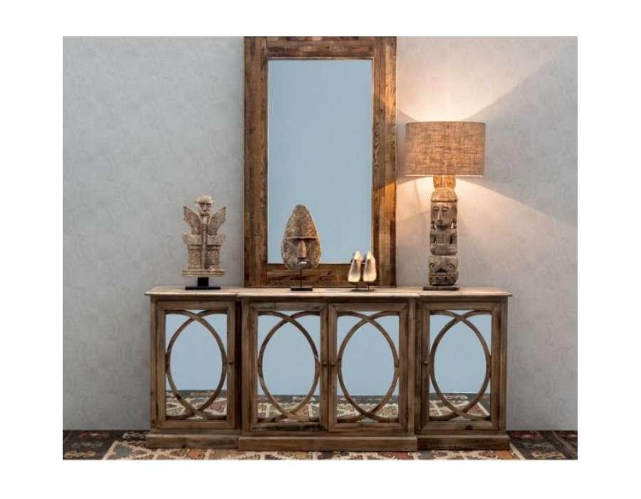 bahut en bois avec fa ades miroir authentique. Black Bedroom Furniture Sets. Home Design Ideas