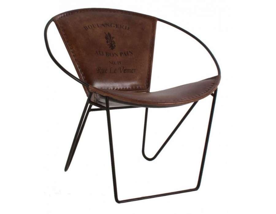 fauteuil vintage rond en cuir cousu et fer noir pas cher. Black Bedroom Furniture Sets. Home Design Ideas