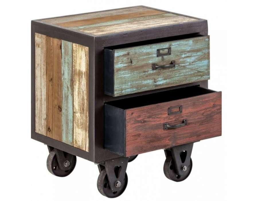 Table de nuit industrielle sur roues vical home - Table de chevet industriel ...