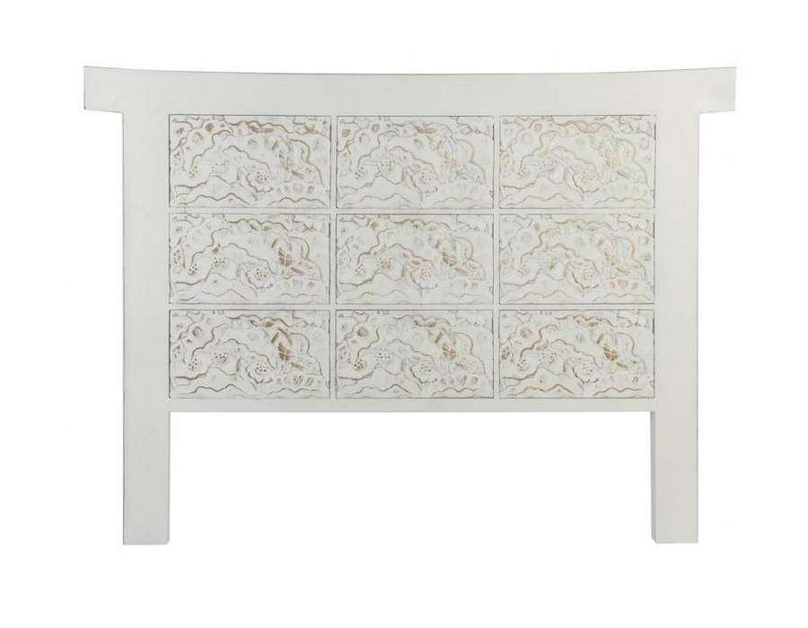 t te de lit 160 cm japonaise blanche en bois c rus. Black Bedroom Furniture Sets. Home Design Ideas