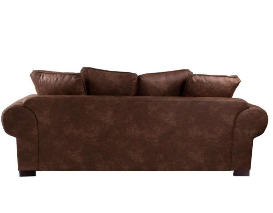 Canap 240 cm simili cuir marron colonial vical home - Canape simili cuir marron ...