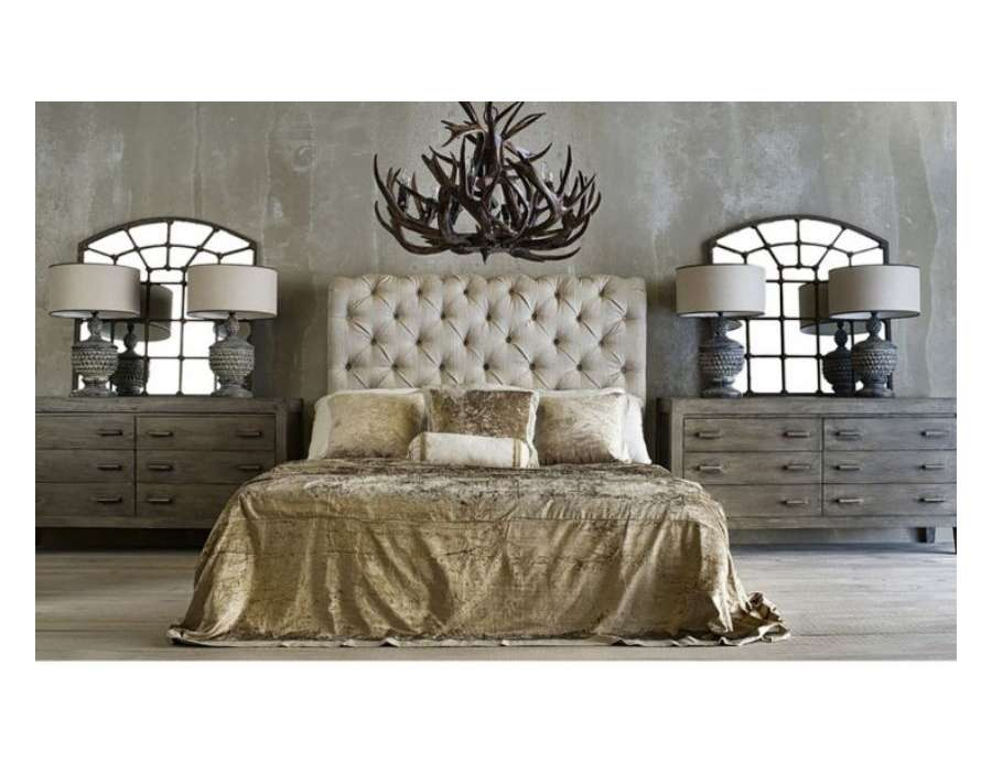 t te de lit 160 cm taupe clair capitons vical home. Black Bedroom Furniture Sets. Home Design Ideas