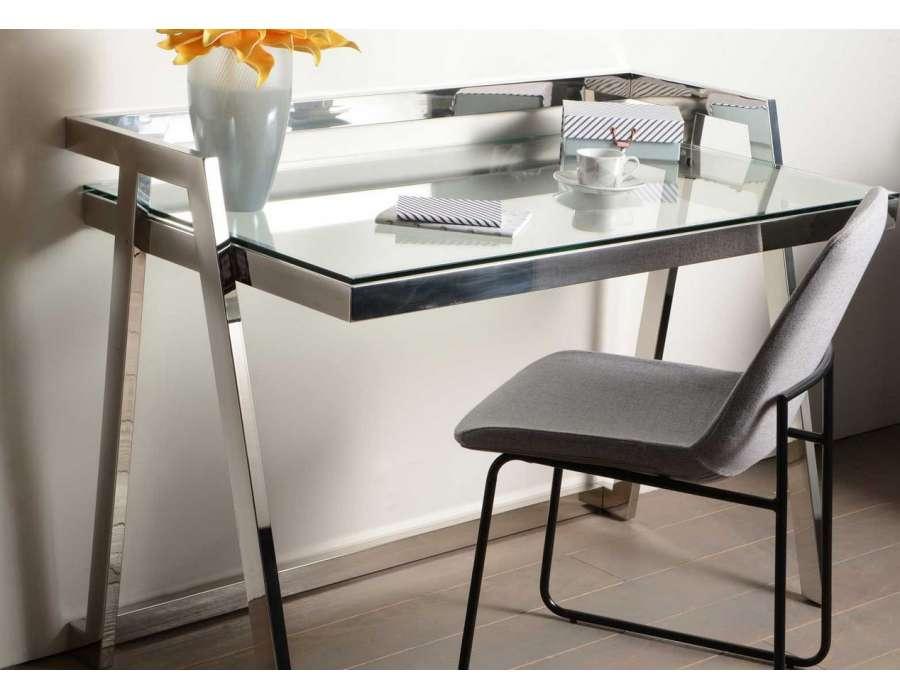 Bureau en verre design chrom amadeus - Bureau verre design ...