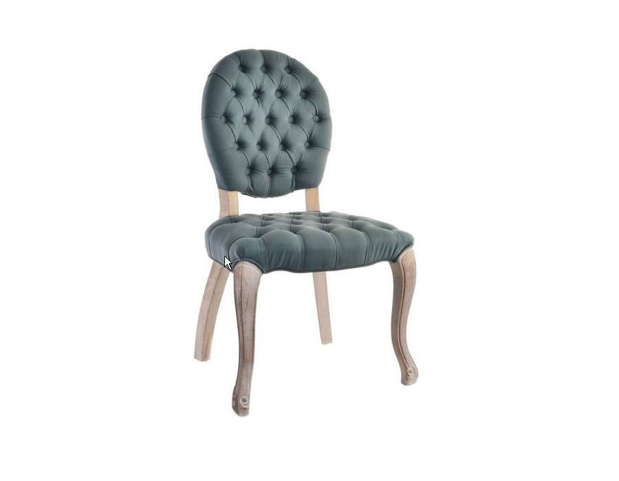 Chaise galb e capitonn e grise m daillon for Chaise capitonnee