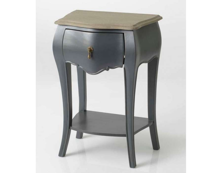 Table de nuit baroque gris amadeus pas chere for Table de nuit grise