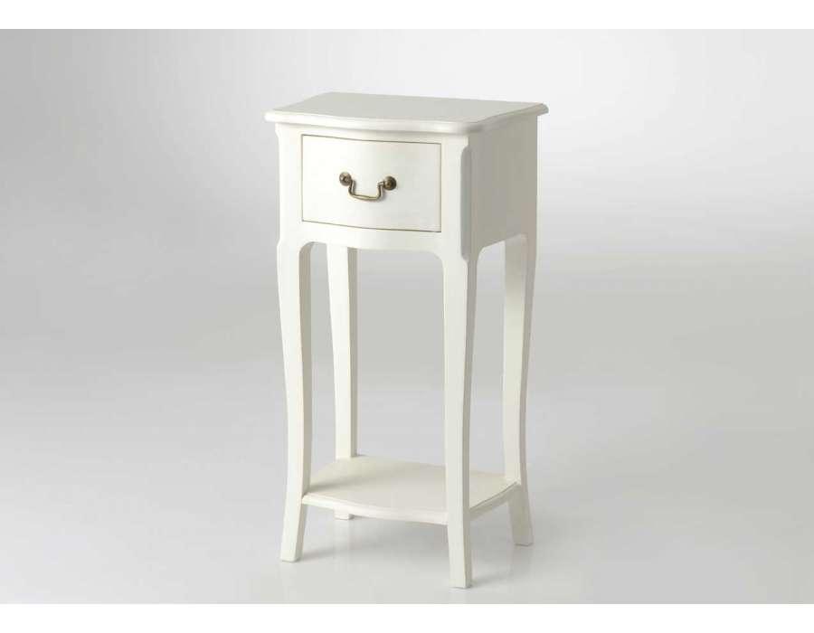Table de nuit haute romantique blanche cass pas chere amadeus - Chevet blanc romantique ...