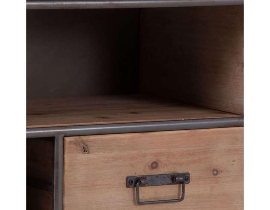 meuble tv vintage en bois et m tal industriel. Black Bedroom Furniture Sets. Home Design Ideas