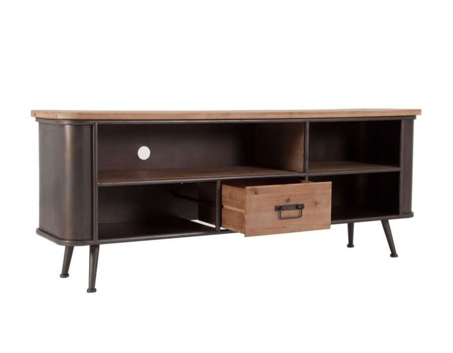meuble tv vintage en bois et m tal industriel. Black Bedroom Furniture Sets. Home Design Ideas