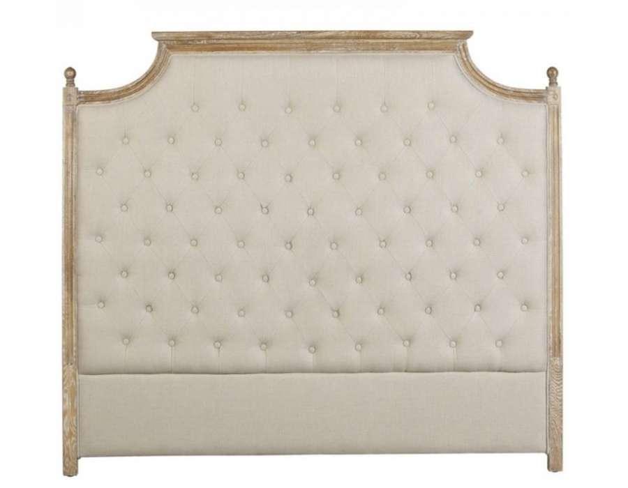 T te de lit 160 cm capitonn e beige en lin vical home - Tete de lit capitonnee beige ...