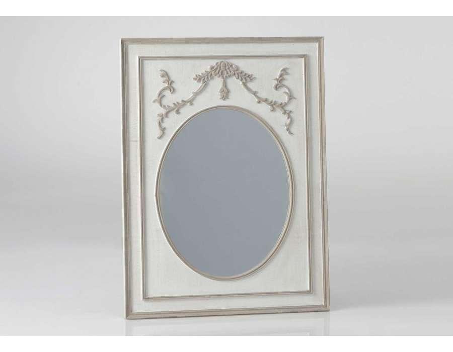 Miroir romantique beige et lin 80 cm pas cher for Miroir trumeau