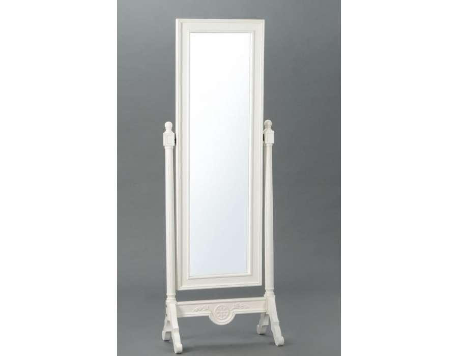 Miroir sur pied romantique blanc de la marque amadeu for Miroir psyche