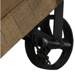 Commode bois industrielle 6 tiroirs sur roues