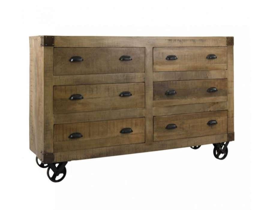 commode industrielle 6 tiroirs sur roues. Black Bedroom Furniture Sets. Home Design Ideas