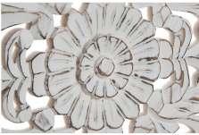 Tête de lit bois sculptée 160 cm fleur patinée