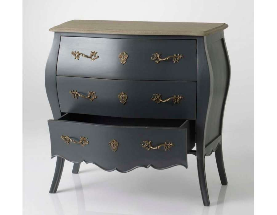 Commode baroque grise 3 tiroirs