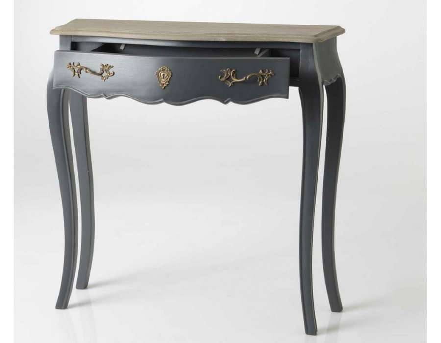 console baroque grise en bois 80 cm avec ch ne amadeus. Black Bedroom Furniture Sets. Home Design Ideas