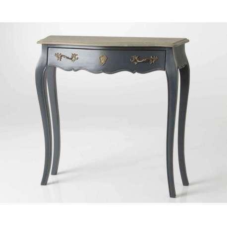 console baroque grise en bois 80 cm avec ch ne amadeus. Black Bedroom Furniture Sets. Home Design Ideas