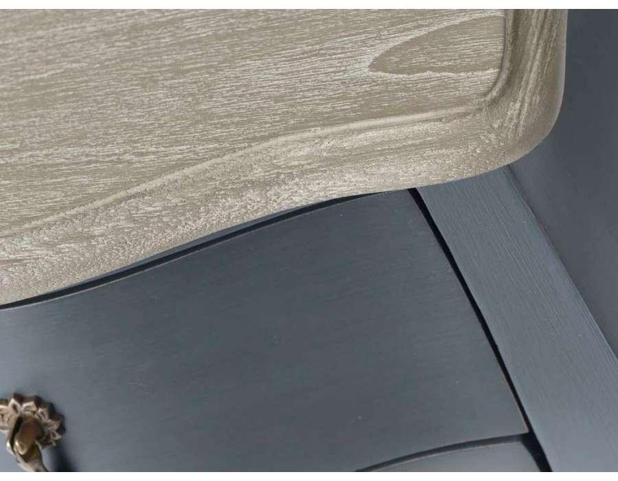 Commode baroque grise en bois avec plateau ch ne 2 tiroirs amadeus - Commode baroque grise ...