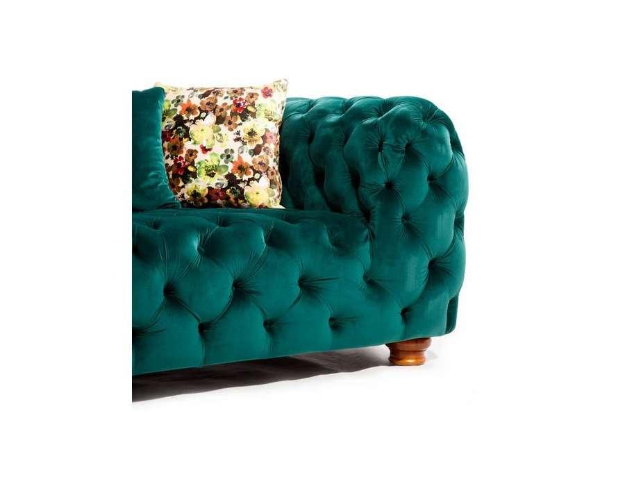 canap capitonn vert 215 cm romantique en lin 3 places. Black Bedroom Furniture Sets. Home Design Ideas