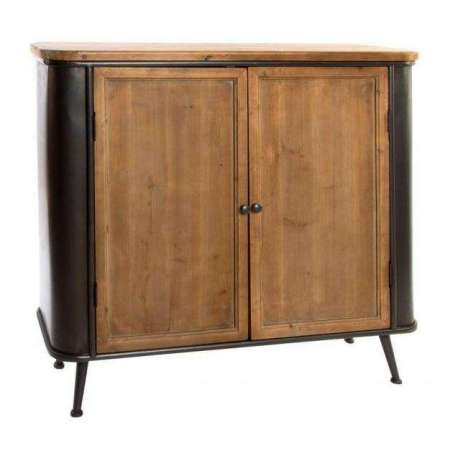 buffet vintage en m tl et bois de 1 m pas cher. Black Bedroom Furniture Sets. Home Design Ideas