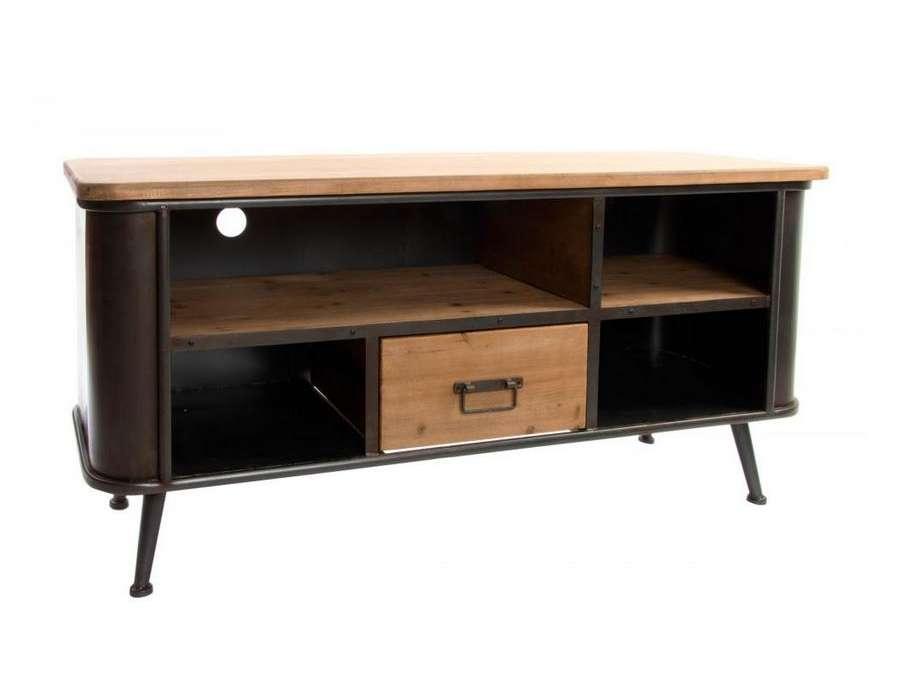 Meuble tv vintage 120 cm en bois et m tal industriel for Meuble tele 120 cm