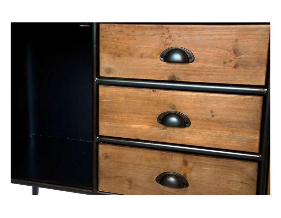 grand buffet vintage en m tal et bois de 1 m pas cher. Black Bedroom Furniture Sets. Home Design Ideas