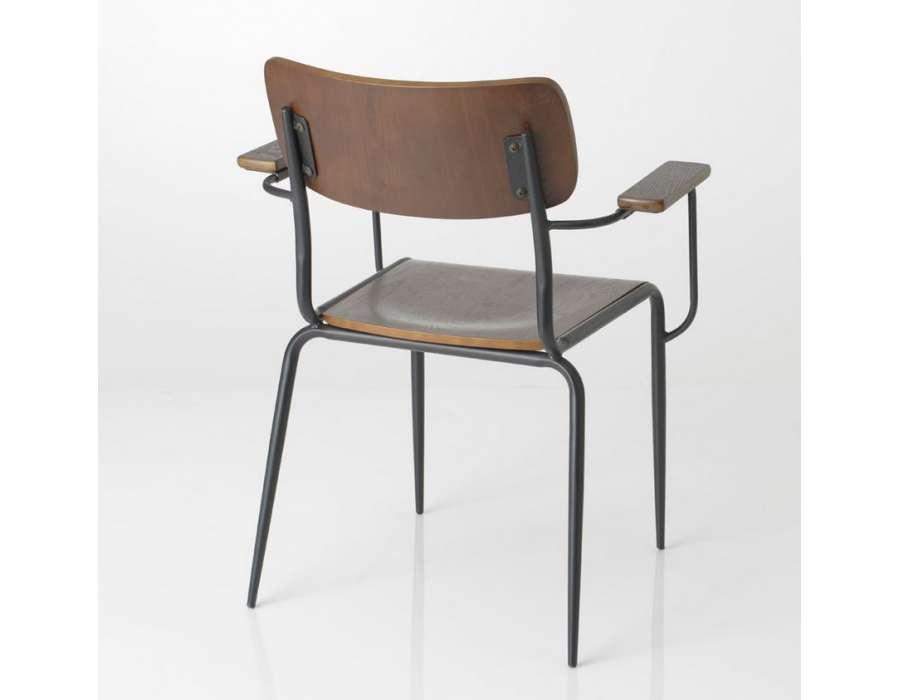 Chaise colier vintage en bois et m tal pas chere for Chaise ecolier vintage