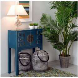Petite console chinoise bleue canard  80 cm