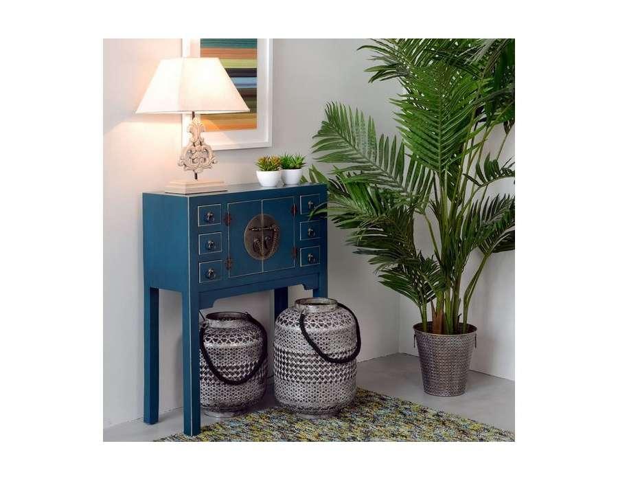 Petite console chinoise bleue canard 80 cm