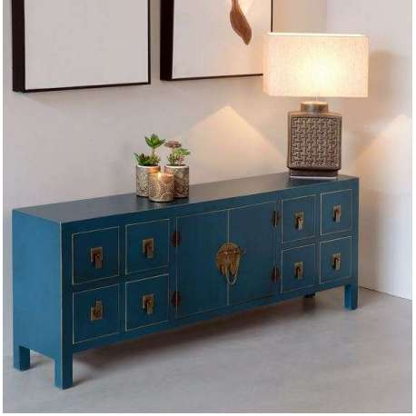 meuble de rangement bas chinois bleu avec 8 tiroirs. Black Bedroom Furniture Sets. Home Design Ideas