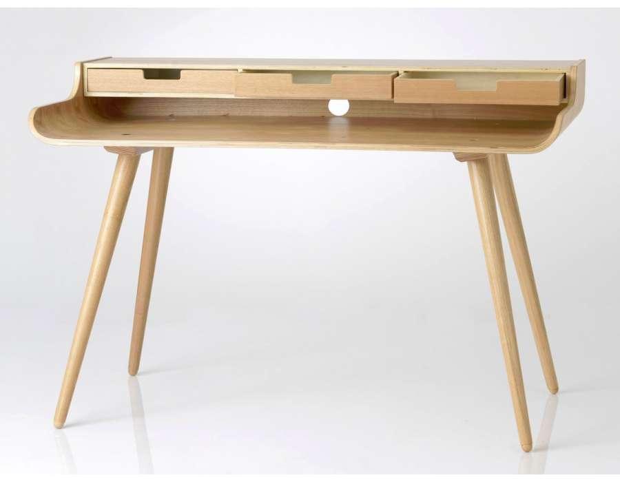 great bureau bois en fresne moderne forme arrondie le bureau bois with bureau bois massif moderne. Black Bedroom Furniture Sets. Home Design Ideas