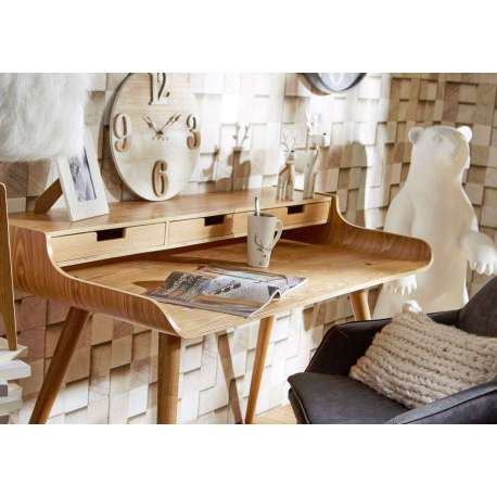 Bureau bois en fresne moderne forme arrondie