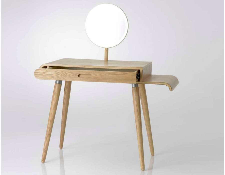Coiffeuse en bois design avec miroir rond amadeus - Coiffeuse design meuble ...