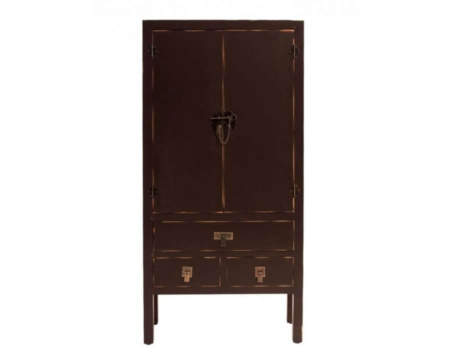 armoire basse asiatique de couleur chocolat pas chere. Black Bedroom Furniture Sets. Home Design Ideas