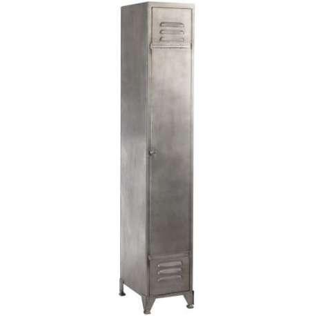 vestiaire en m tal gris armoire industriel avec tag res jolipa. Black Bedroom Furniture Sets. Home Design Ideas