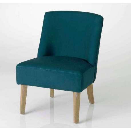 fauteuil bas bleu canard aspect velours - Fauteuil Bleu Canard Pas Cher