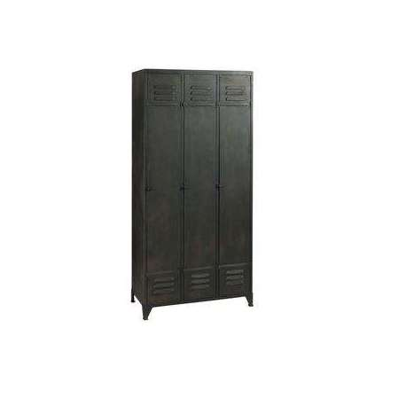 vestiaire 3 portes en m tal gris fonc armoire. Black Bedroom Furniture Sets. Home Design Ideas
