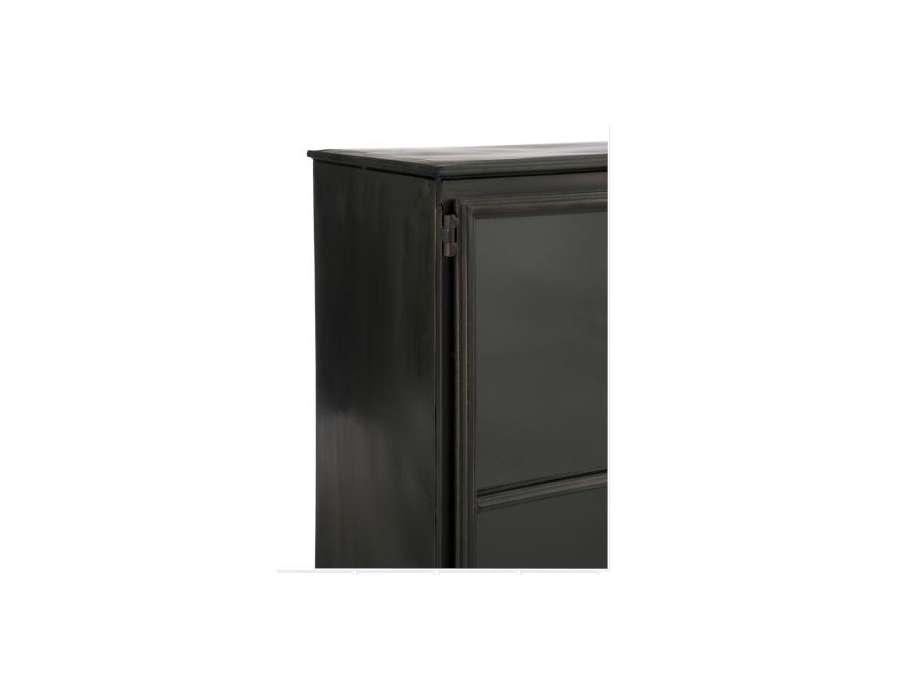 armoire basse vitr e en m tal gris fonc armoire industriel avec tag res jolipa. Black Bedroom Furniture Sets. Home Design Ideas