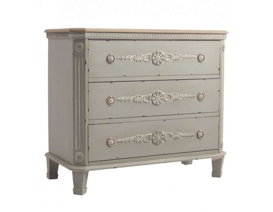 commode gris bleut e romantique 3 tiroirs pas chere. Black Bedroom Furniture Sets. Home Design Ideas