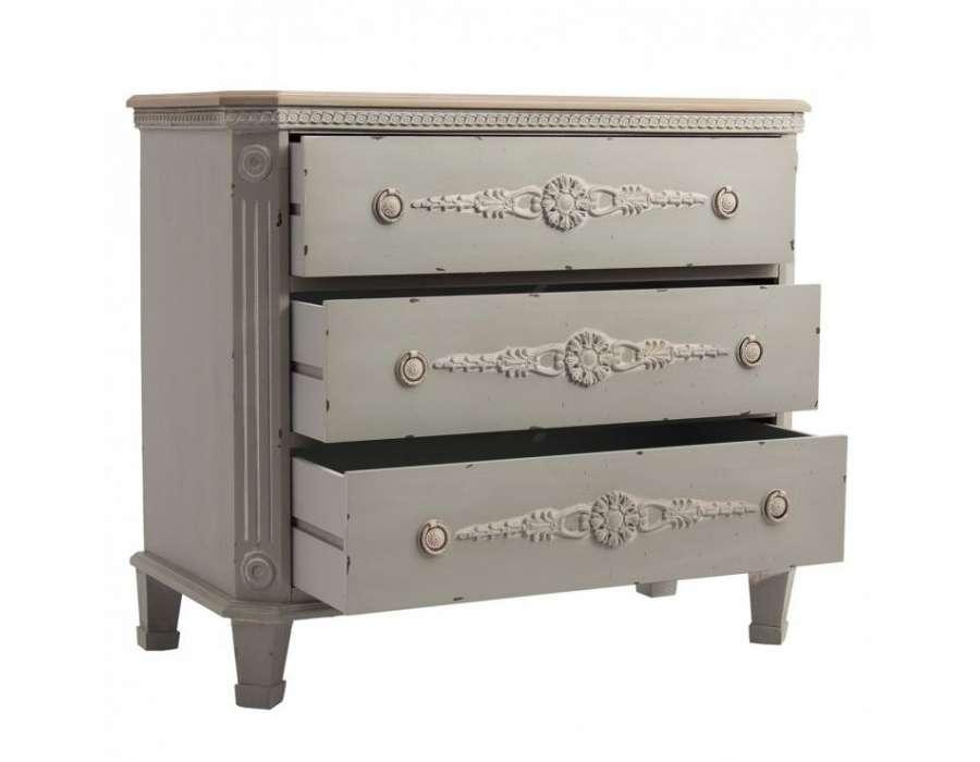 commode gris bleut e romantique 3 tiroirs pas chere. Black Bedroom Furniture Sets. Home Design Ideas