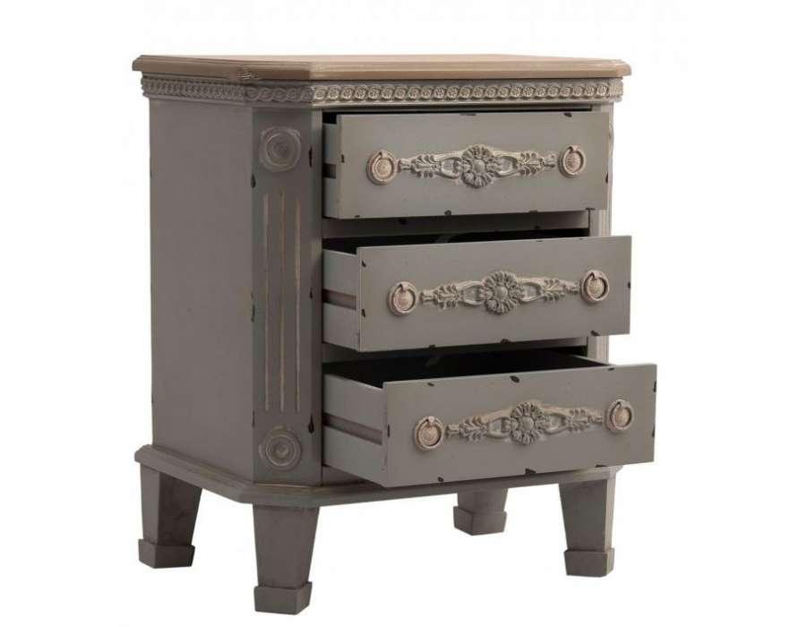 Table de chevet gris bleue 3 tiroirs romantique pas chere for Table de nuit romantique