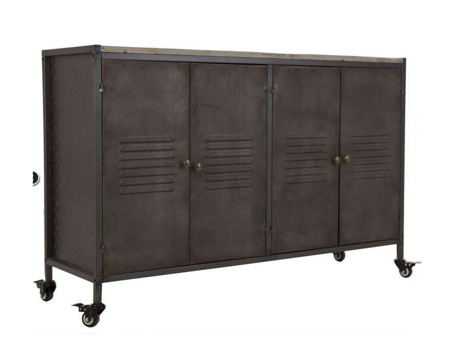 bahut buffet industriel m tal et bois vical home. Black Bedroom Furniture Sets. Home Design Ideas