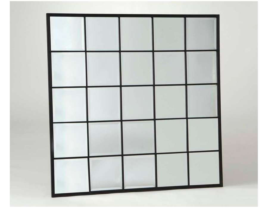 Miroir quadrill carr noir de 113 cm orangerie for Miroir quadrille kine