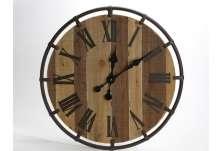 Horloge ronde lattes de bois 60 cm