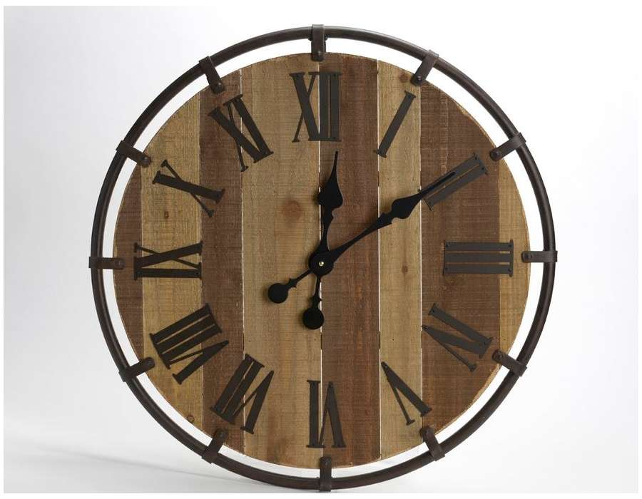 horloge ronde industrielle de 60 cm avec lattes. Black Bedroom Furniture Sets. Home Design Ideas